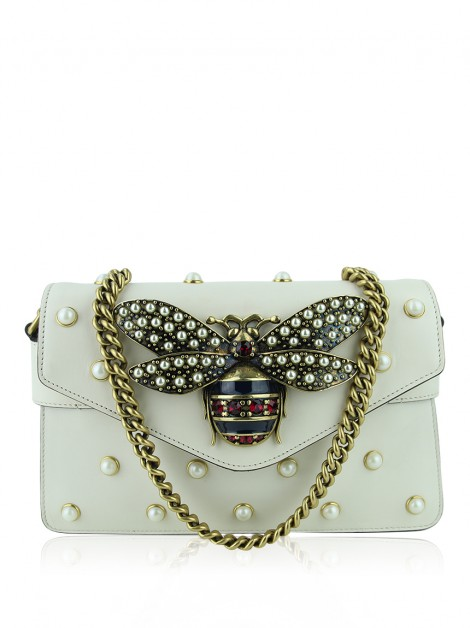 Bolsa Gucci Pearl Studded Mini Broadway Bee