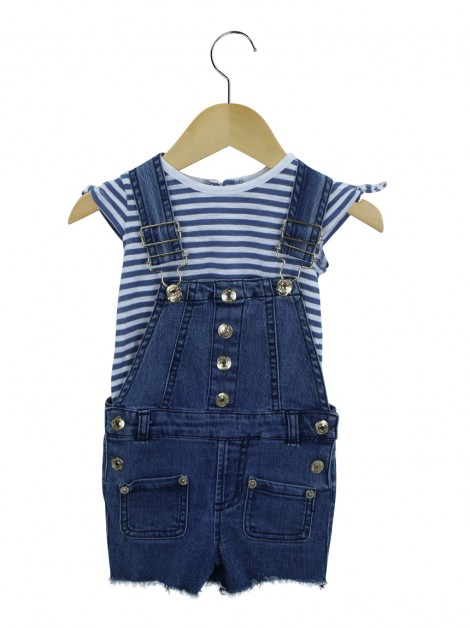 Conjunto Seven For All Mankind Jardineira Jeans Toddler
