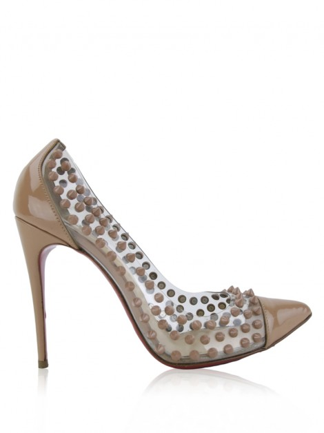 Sapato Christian Louboutin Spike Me Patent PVC 100 Bege