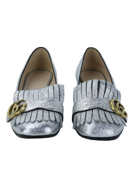 Sapato Gucci GG Marmont Fringe Loafer Metálico