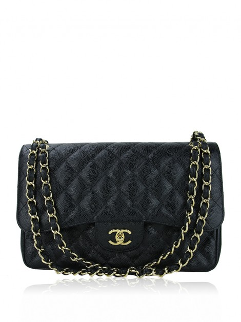 Bolsa Chanel Double Flap Caviar Jumbo