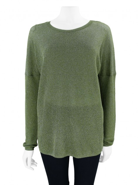 Blusa Animale Lurex Verde