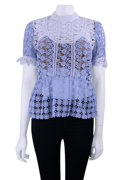 Blusa Self-Portrait Renda Azul