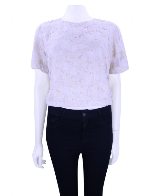 Blusa Mixed Renda Champagne