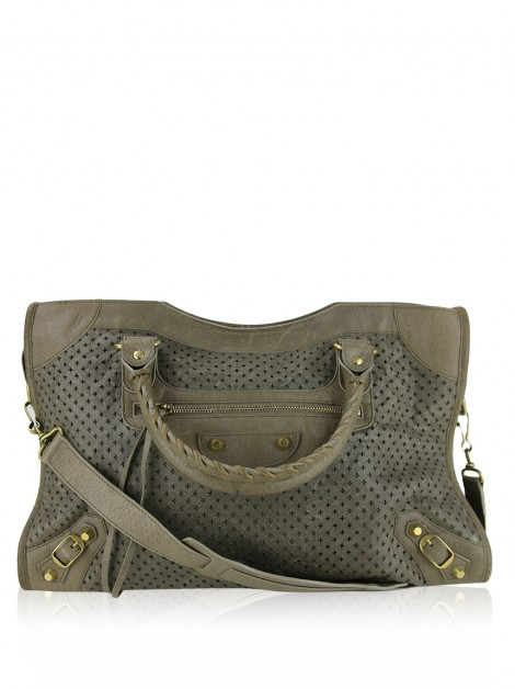 Bolsa Balenciaga Perforated City Bege