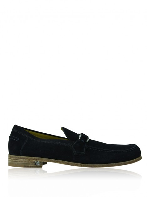 Mocassim Louis Vuitton Loafer Major Camurça Azul Marinho Masculino