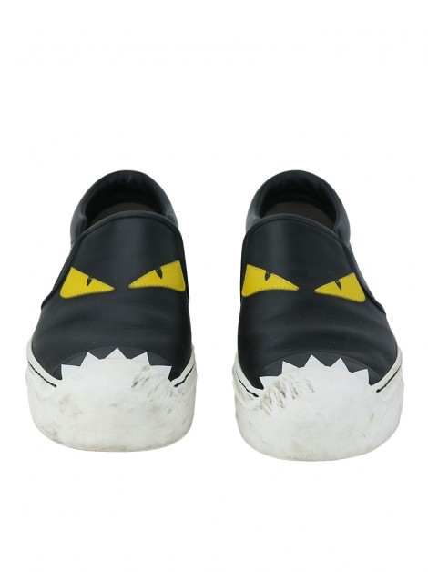 Tênis Fendi Monster Couro Slip On Preto