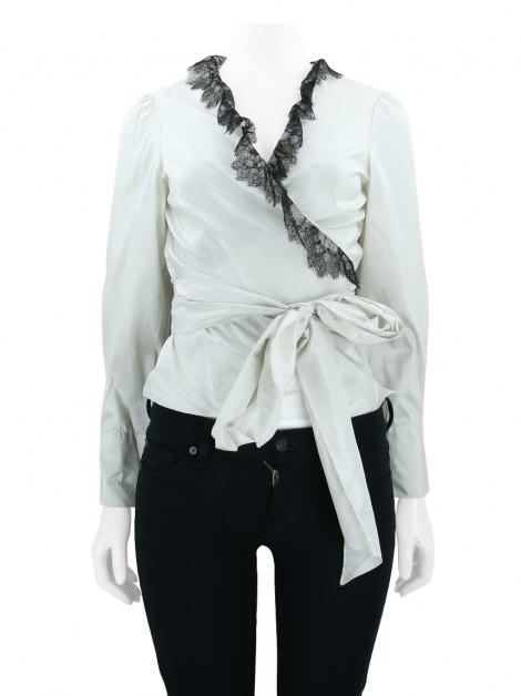 Camisa Carolina Herrera Seda Off White