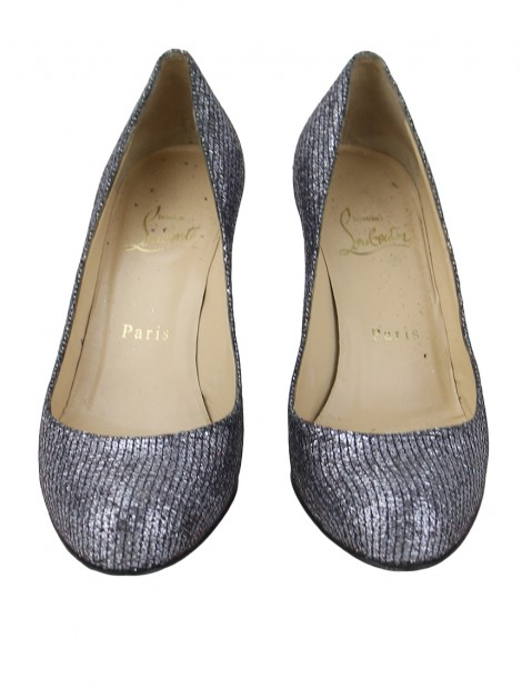 Sapato Christian Louboutin Simple 85 Lady Glitter Chumbo