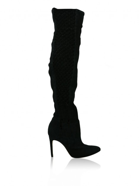 Bota Alexandre Birman Over The Knee Macramê Preto