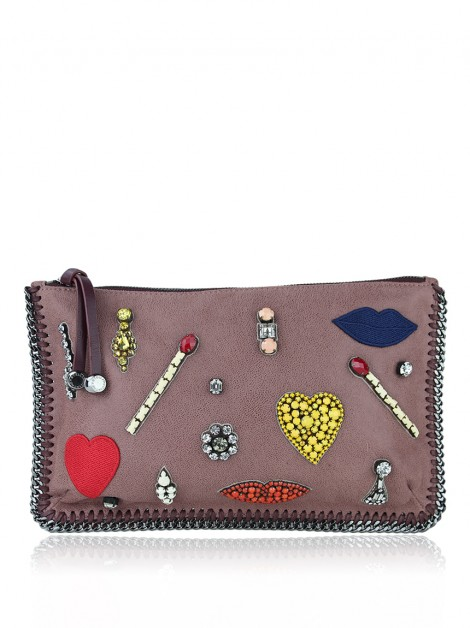 Clutch Stella McCartney Falabella Bordada Rose
