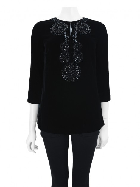 Blusa Tory Burch Bordado Preto