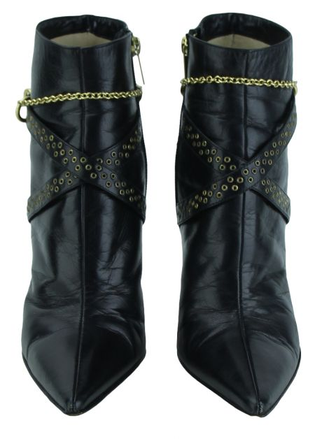 Ankle Boot Jimmy Choo Chains Couro Preto
