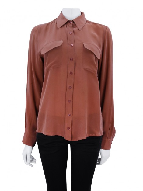 Camisa Mixed Seda Terracota