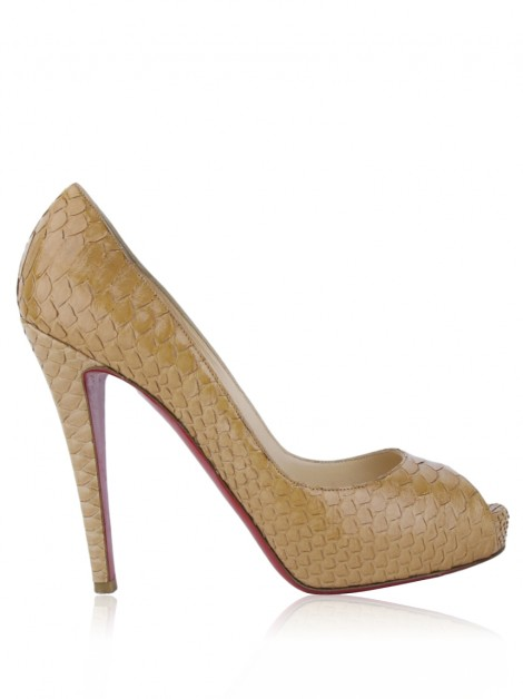 Sapato Christian Louboutin Very Prive 120 Python Bege