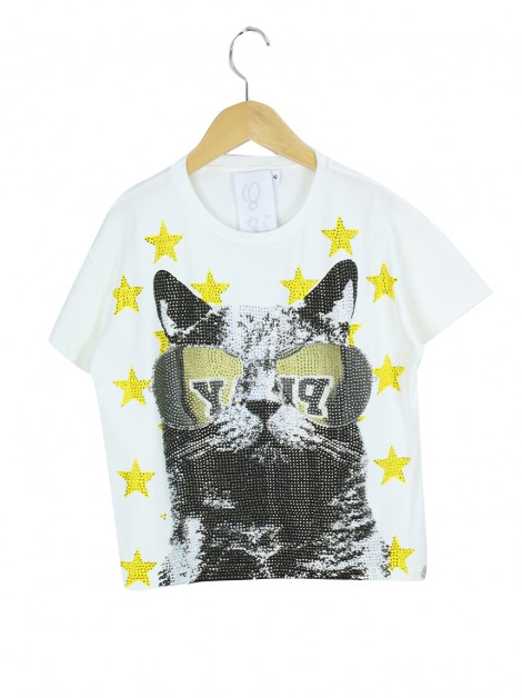 Blusa Miss Grant So Twee Gato Off White Infanto Juvenil