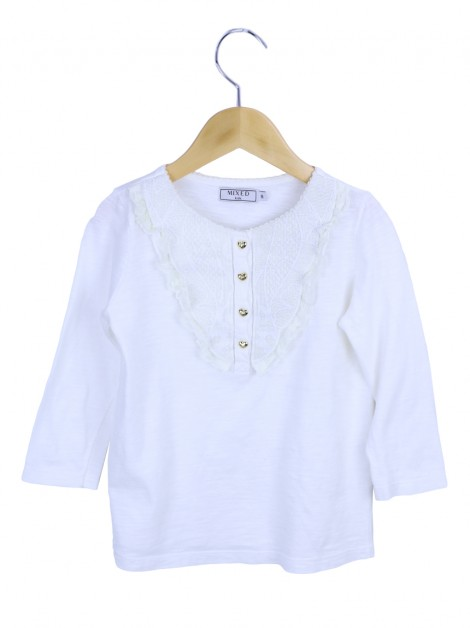 Blusa Mixed Kids Renda Branca Infantil