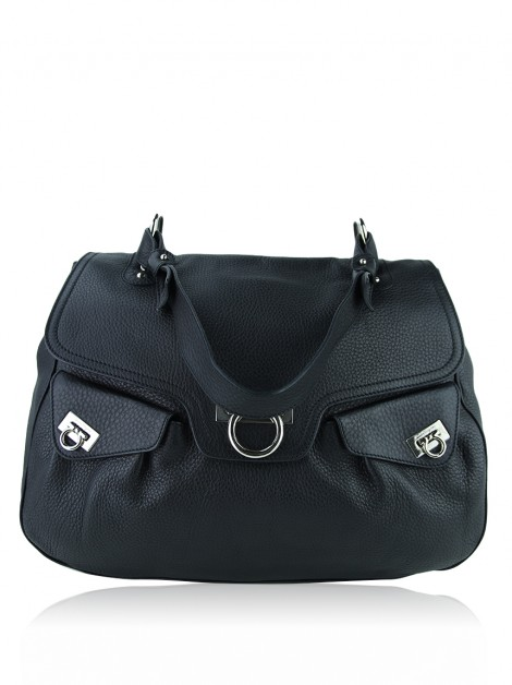 Bolsa Salvatore Ferragamo Gancini Shoulder Bag Preto