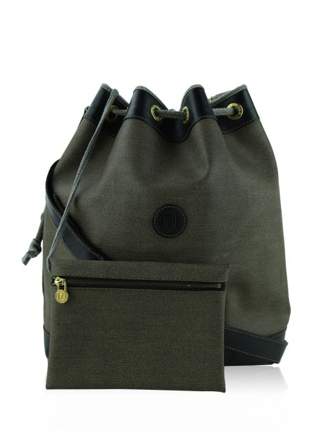 Bolsa Fendi Bucket Canvas Marrom