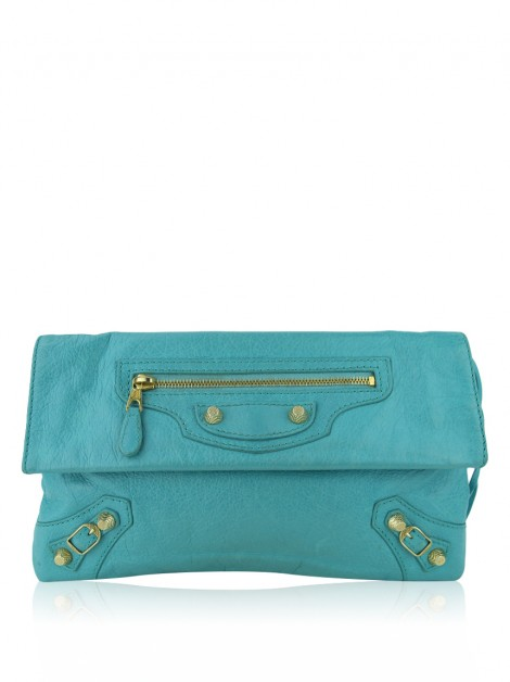 Clutch Balenciaga Motocross Giant 12  Bleu Tropical