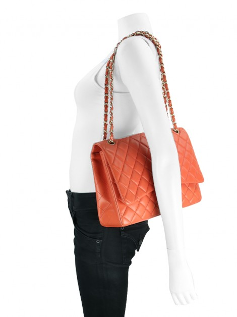 Bolsa Chanel Single Flap Maxi Laranja