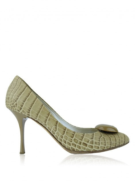 Sapato Christian Dior Embossed Bege