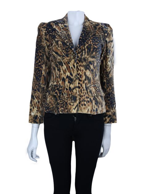 Blazer Mixed Veludo Leopardo
