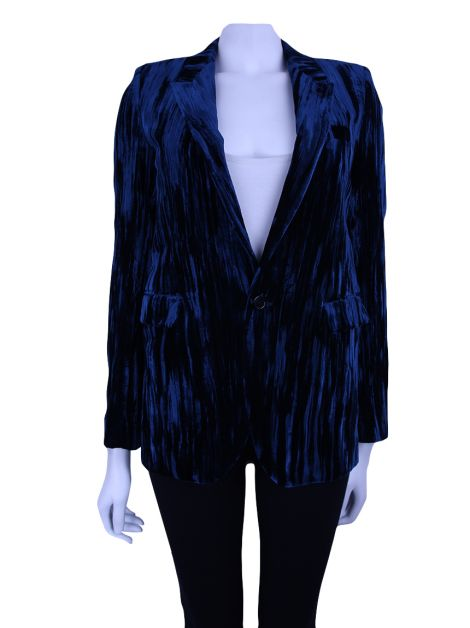 Blazer Saint Laurent Crushed Velvet Azul