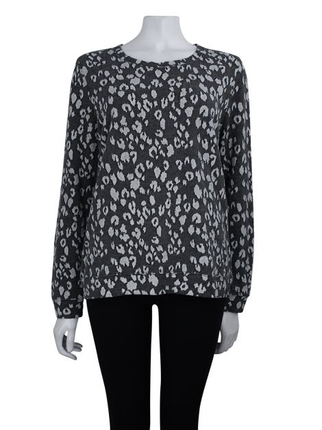 Blusa All Saints Animal Print Cinza