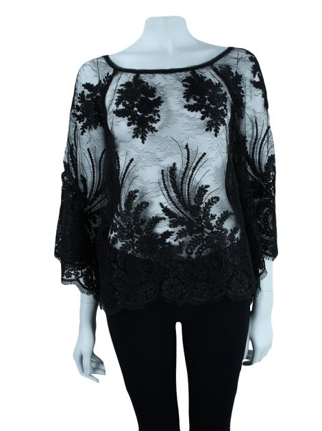 Blusa Animale Renda Preto