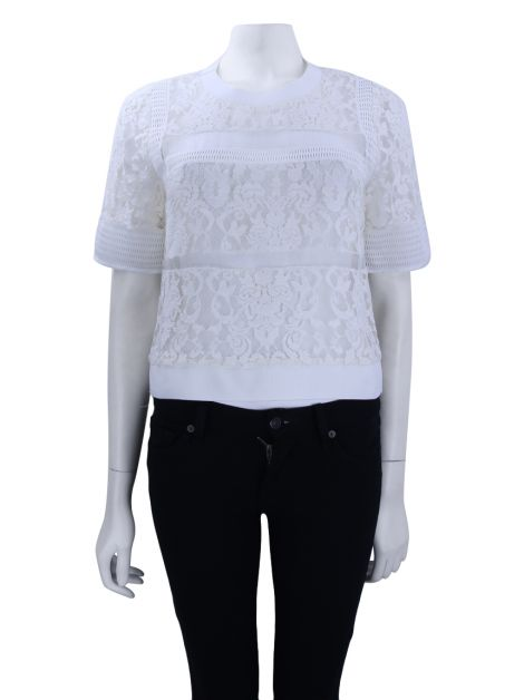 Blusa Animale Renda Transparente Off-White