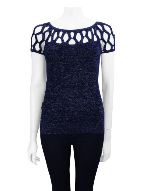 Blusa Armani Exchange Lurex Azul