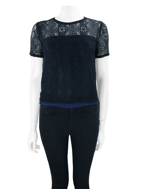 Blusa Armani Exchange Renda Preto