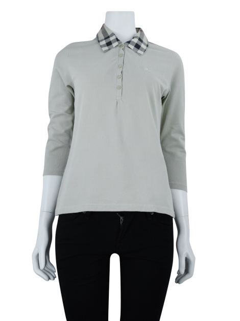 Blusa Burberry Polo Check Bege