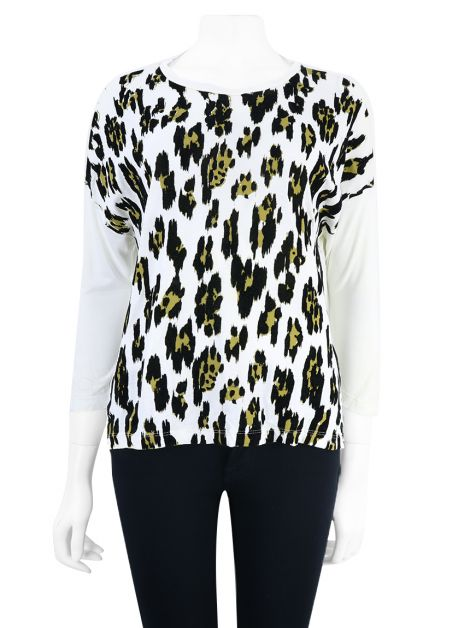 Blusa Daslu Animal Print Off-White