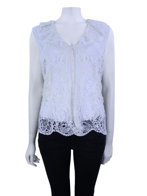 Blusa Elie Tahari Renda Off White