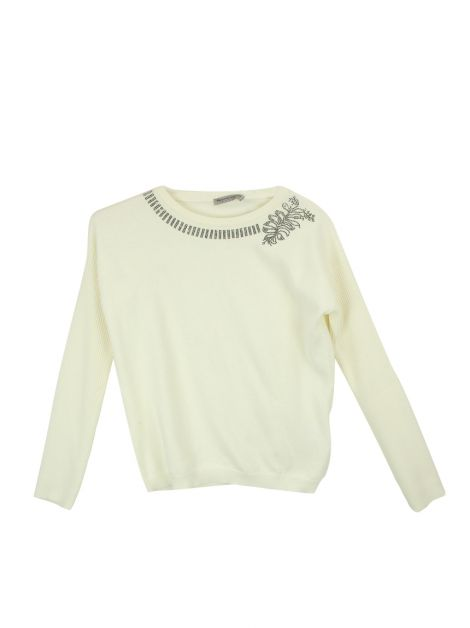 Blusa Ermano Scervino Junior Knit Off-White Infantil