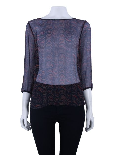 Blusa Lilly Sarti Purple Label Chiffon Estampado