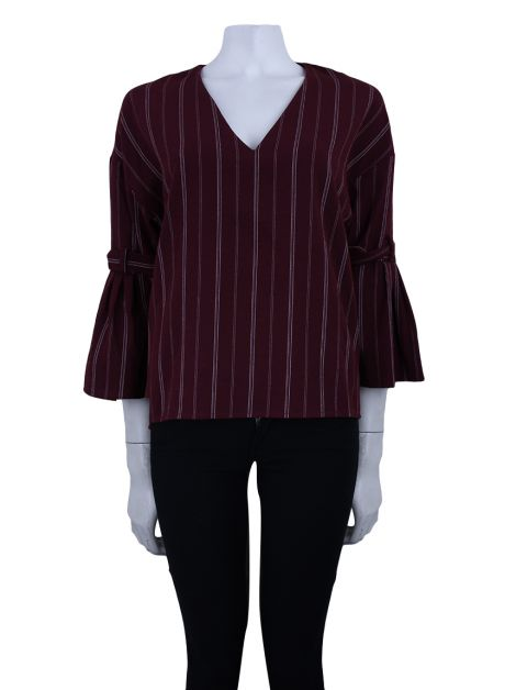 Blusa Mixed Listrada Burgundy