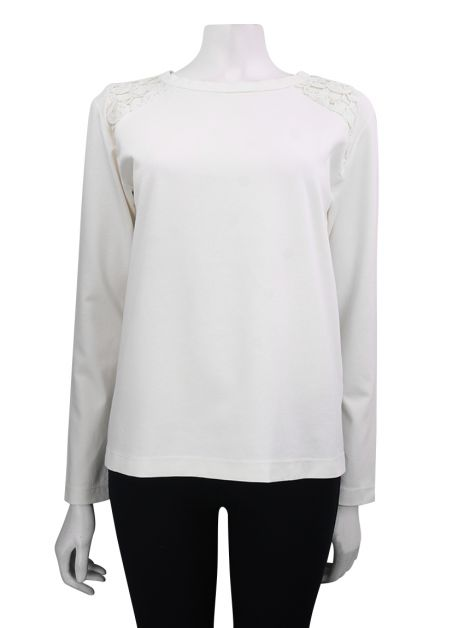 Blusa Mixed Manga Longa Off-White