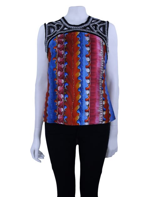 Blusa Peter Pilotto Bordada Estampa Seda