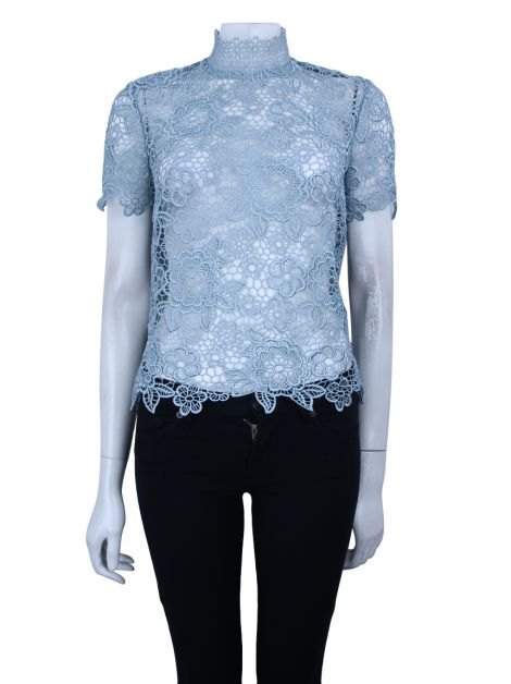 Blusa Self Portrait Renda Azul