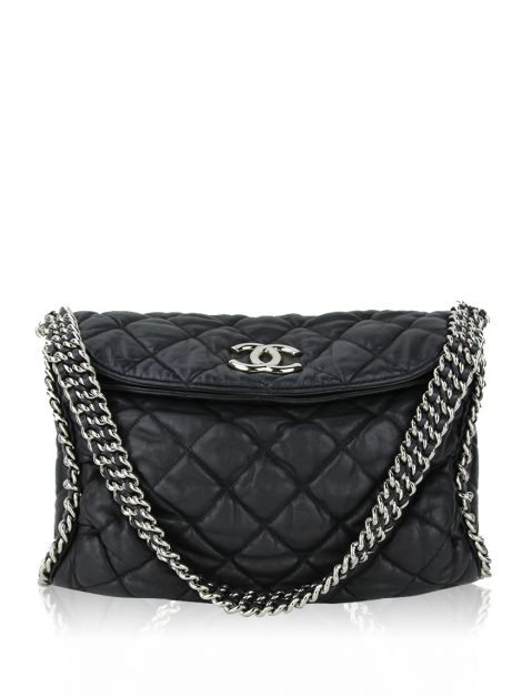 Bolsa Chanel Chain Around Hobo Preta