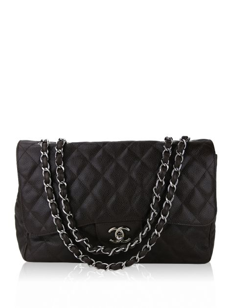 Bolsa Chanel Single Flap Marrom Jumbo