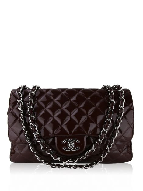 Bolsa Chanel Single Flap Verniz Vinho