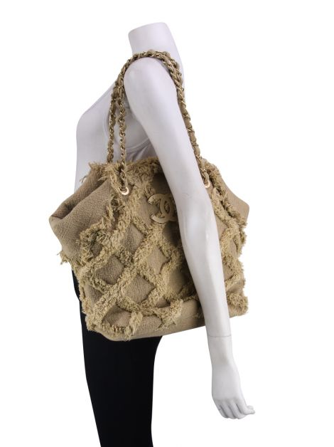 Bolsa Chanel Tweed Natural Tote Bege