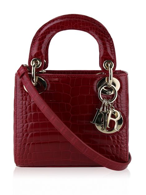 Bolsa Christian Dior Mini Lady Dior Croco Cereja