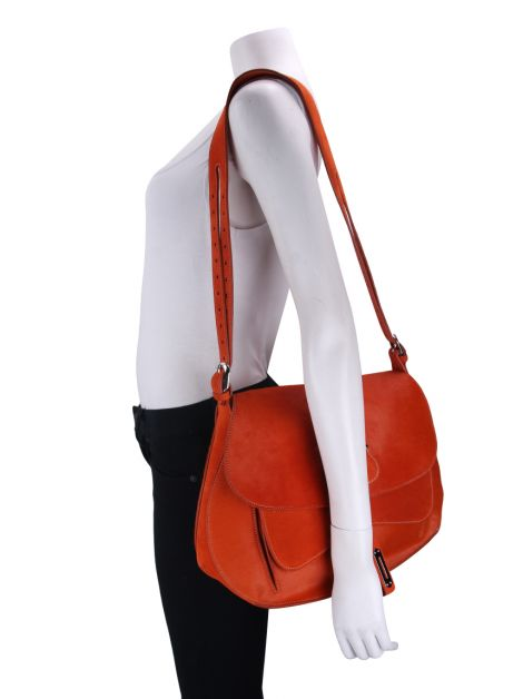 Bolsa Fontana Milano 1915 Wight Medium Saddle Hobo Laranja