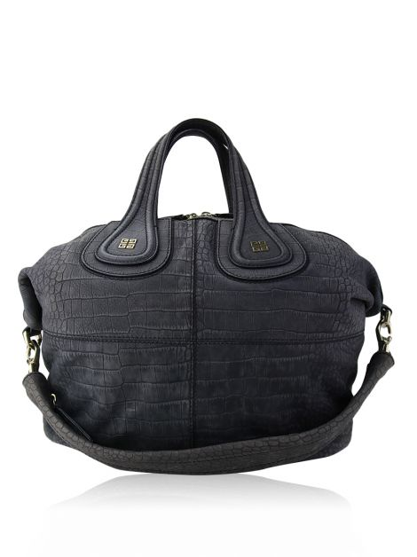 Bolsa Givenchy Nightingale Crocodile Nobuck Cinza