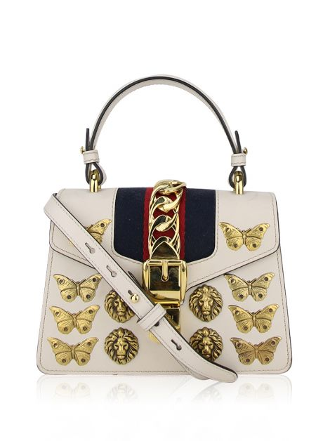 Bolsa Gucci Mini Sylvie Animal Studs Branca